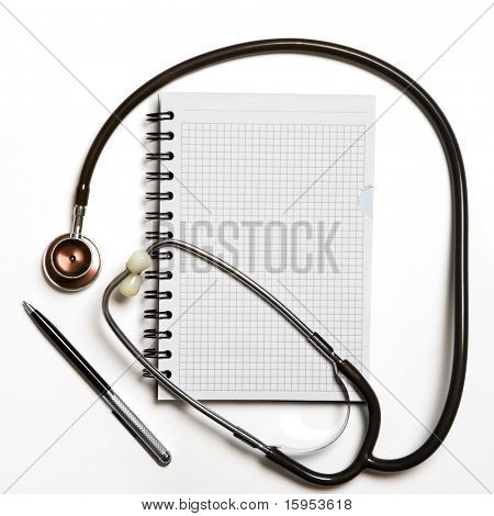 medical stethoscope with notebook