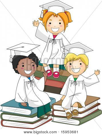 Illustration of Kids Sitting on a Pile of Books