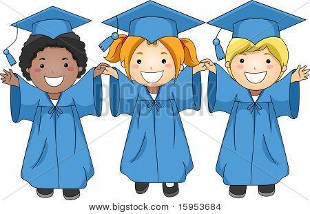 Illustration of Graduates Jumping Happily