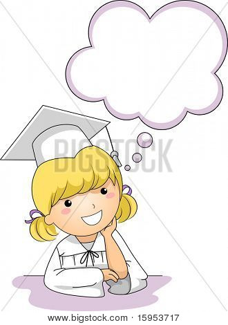 Illustration of a Little Girl Thinking