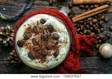 Coffee With Cinnamon On Christmas Decorations. Top View