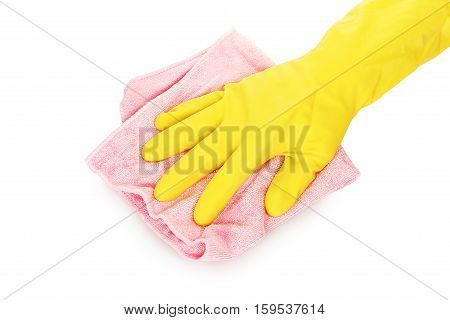 hand in rubber glove with microfiber cloth isolated on white