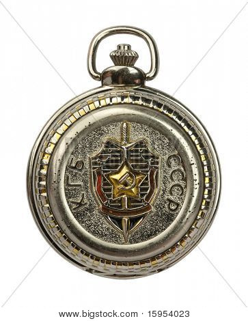 Russian USSR KGB secret police old pocket watch, clock