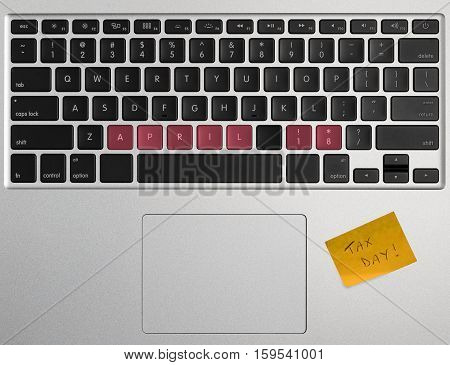 Tax Day Concept Using Computer Keyboard