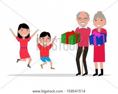 Vector illustration cartoon grandparents give their grandchildren gifts. Old people give children presents. Isolated on white background. Flat style. Happy girl, boy coming grandfather, grandmother.