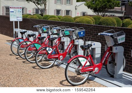 AUSTIN TEXAS - AUGUST 23 2015: Bicycles can be rented by the hour for touring around the city at the B-cycle Station kiosk in Austin TX USA.