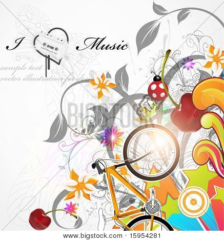 Handdrawn floral design elements. Spring music design with cherry and bike. eps 10.