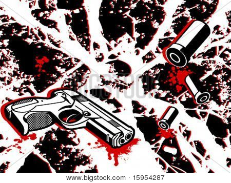 Fondo de escena del crimen con armas y balas