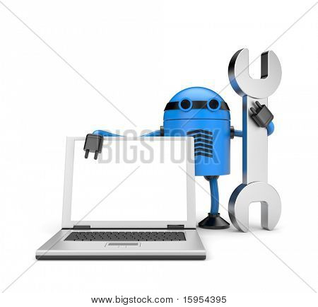 Robot met laptop