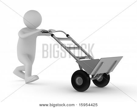 hand truck on white background. Isolated 3D image