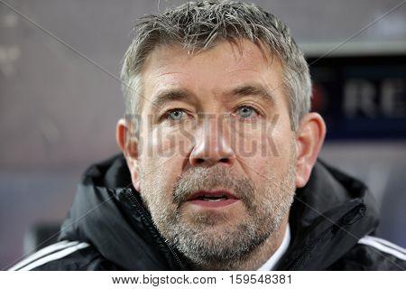 Sofia Bulgaria - November 23 2016: Basel's coach Urs Fischer seconds before UEFA Champions League football match between Ludogorets Razgrad and Basel at Bulgaria's National Stadium.