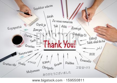 Thank You In Different Languages Of The World. The Meeting At The White Office Table