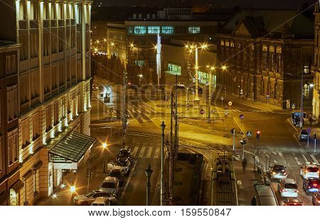 night traffic in city of Poznan in Poland