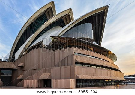 SYDNEY AUSTRALIA - AUGUST 29 2012: Close view of the Opera House at sunset in Sydney Australia