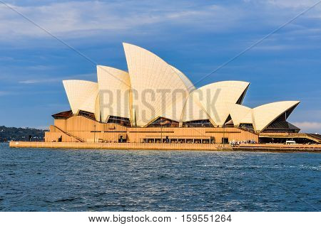 SYDNEY AUSTRALIA - AUGUST 29 2012: View of the Opera House at sunset in Sydney Australia
