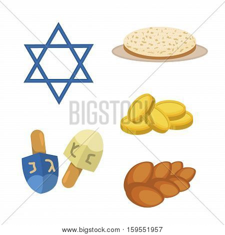 Judaism church traditional symbols jewish hanukkah set. Various jewish symbols and items hanukkah celebration flat icons vector. Jewish hanukkah church traditional religious.