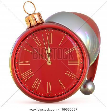 New Year's Eve clock Christmas ball midnight hour countdown time Santa Claus hat decoration ornament red adornment. Traditional happy Xmas wintertime holiday future beginning pressure. 3d illustration