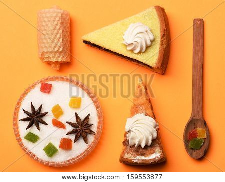 Slices Of Pie With Marshmallows And Honey