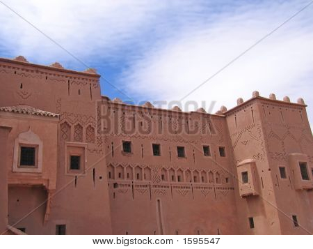 Detail Of Oriental Maroccan Architecture On A Wall Of A Red Fortress, Taourirt Kasbah, Ouarzazate, M