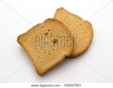 yellow crispy rusk isolated on white background
