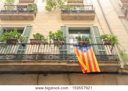 Flag Of Independence Movement Of Catalonia, Called Estelada (unofficial), In A Street Of The Downtow