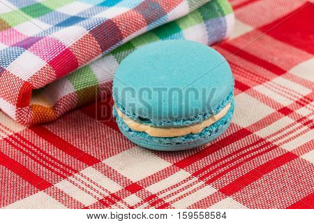 Colorful Macaroon On Tablecloth