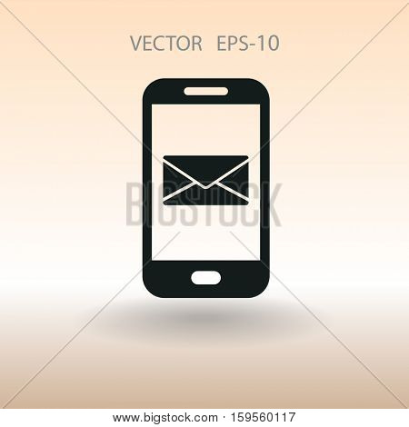 Mobile mail icon. vector illustration