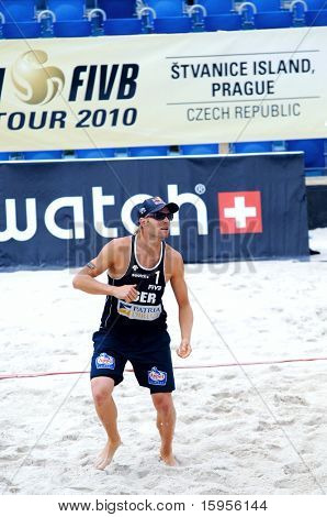 PRAGUE - JUNE 18: Julius Brink  from Germany, beach volleybal player at SWATCH FIVB World Tour 2010 June 18, 2010 Prague