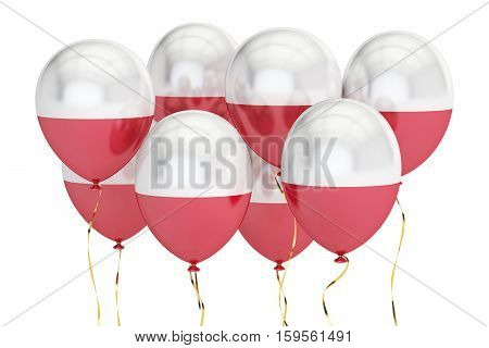Balloons with flag of Poland holyday concept. 3D rendering isolated on white background