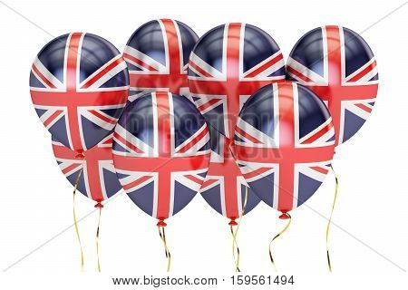 Balloons with flag of Great Britain holyday concept. 3D rendering isolated on white background