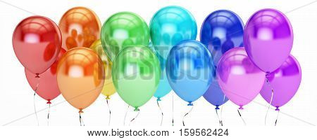 row from multicolored party balloons 3D rendering isolated on white background