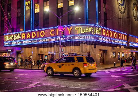 NEW YORK CITY - JULY 1: Radio City Music Hall July 1 2016 in New York NY. Completed in 1932 the famous music hall was declared a city landmark in 1978 and became famous place for tourists.