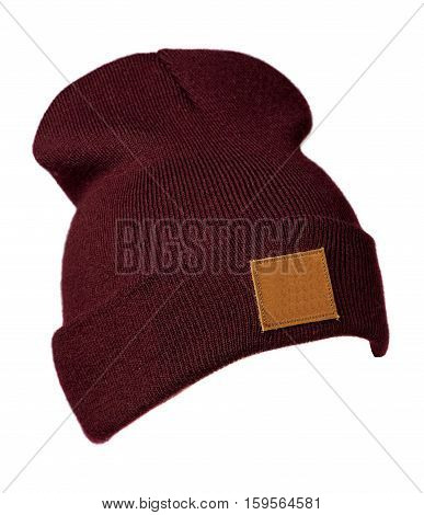 Hat Isolated On White Background .knitted Hat .dark Red Hat