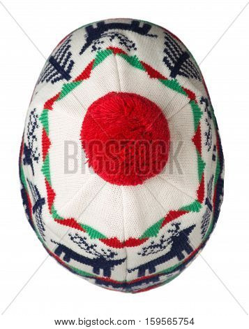 Knitted Hat Isolated On White Background .hat With Pompon .  Blue Red White  Hat . Hat Top View