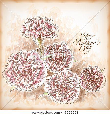 Vektor handgezeichnete Nelken, Element für Muttertag