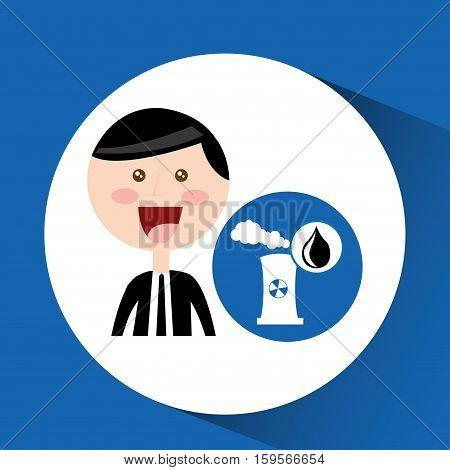 businessman oil concept nuclear plant vector illustration eps 10
