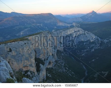 Sunset Over The Dark Canyon Cliffs, Verdon Gorges, Azur Coast, South Of France