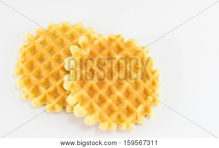 Waffle Cookies On White Background