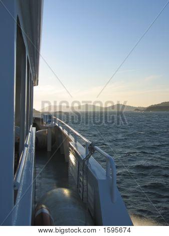 The Port Cros Island From A Big Sea Boat, Porquerolles Island, Azur Coast, South Of France