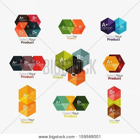 Vector business geometric layouts with option text