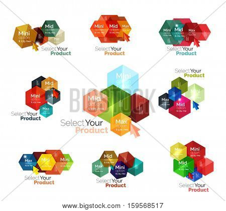 Set of hexagon navigation option diagrams. Vector business brochure or flyer element, presentation and web design navigation layout