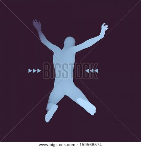 Jumping Man. 3D Model of Man. Human Body. Sport Symbol. Design Element for Business, Science and Technology. Vector Illustration.
