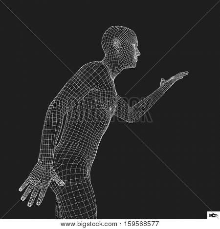 Man Points to Something by Hand. 3D Model of Man. Geometric Design. Vector Illustration.