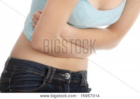 Young teen woman with stomach ache isolated on white background