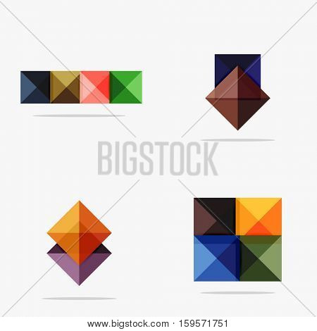 Set of vector square abstract backgrounds or infographics for your content