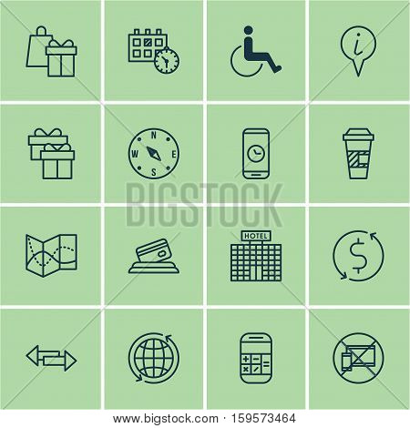 Set Of Travel Icons On Forbidden Mobile, Accessibility And Locate Topics. Editable Vector Illustration. Includes Shopping, Credit, Math And More Vector Icons.