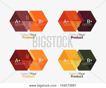 Vector set of geometric paper business infographics layouts