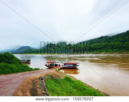 Scenic landscape of natural beauty have river lake farm harbor