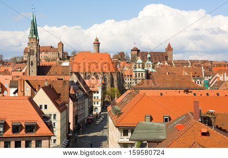 Bird's-eye View Of Nuremberg Roofs. Bavaria, Germany