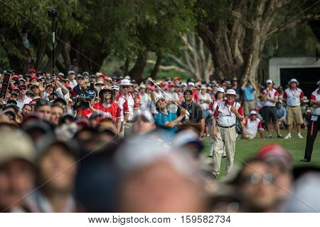 Sydney, Australia - November 20, 2016: Australian golfer Aaron Baddeley playing his final approach shot into the 18th green on the final day of the Emirates Australian open at Royal Sydney Golf Club on November 20, 2016 in Sydney, Australia